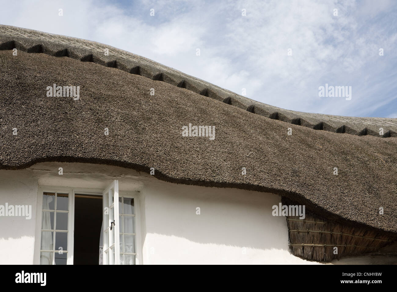 Paja tradicionales Devonshire cottage Imagen De Stock