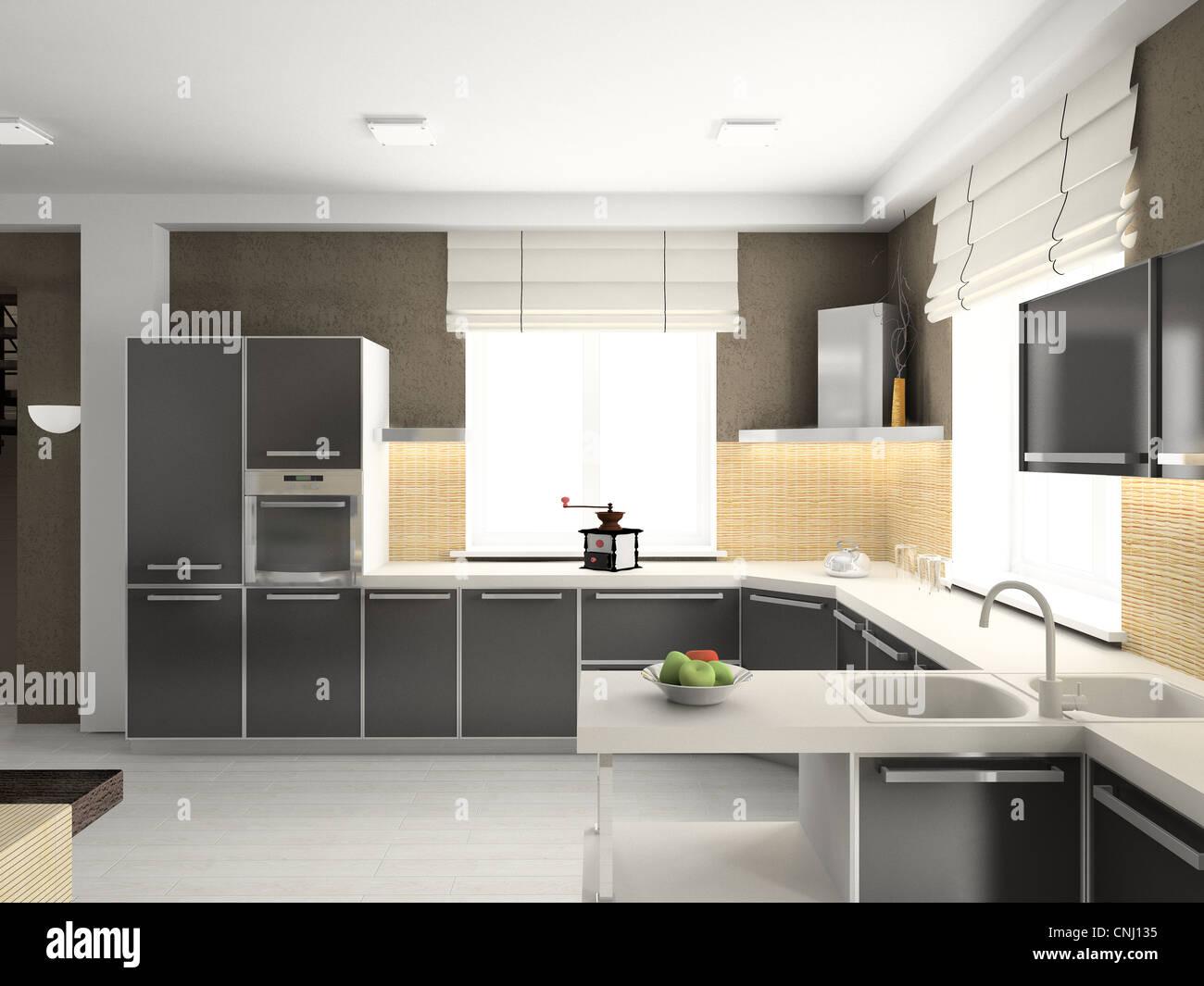 Moderno diseño interior de cocina. 3D Render Foto & Imagen De Stock ...