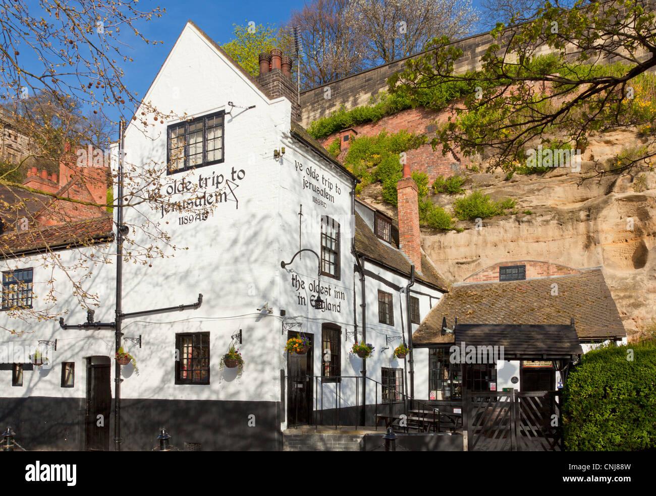 [Ye Olde viaje a Jerusalén] pub en el centro de la ciudad de Nottingham Inglaterra Nottinghamshire GB Europa Imagen De Stock