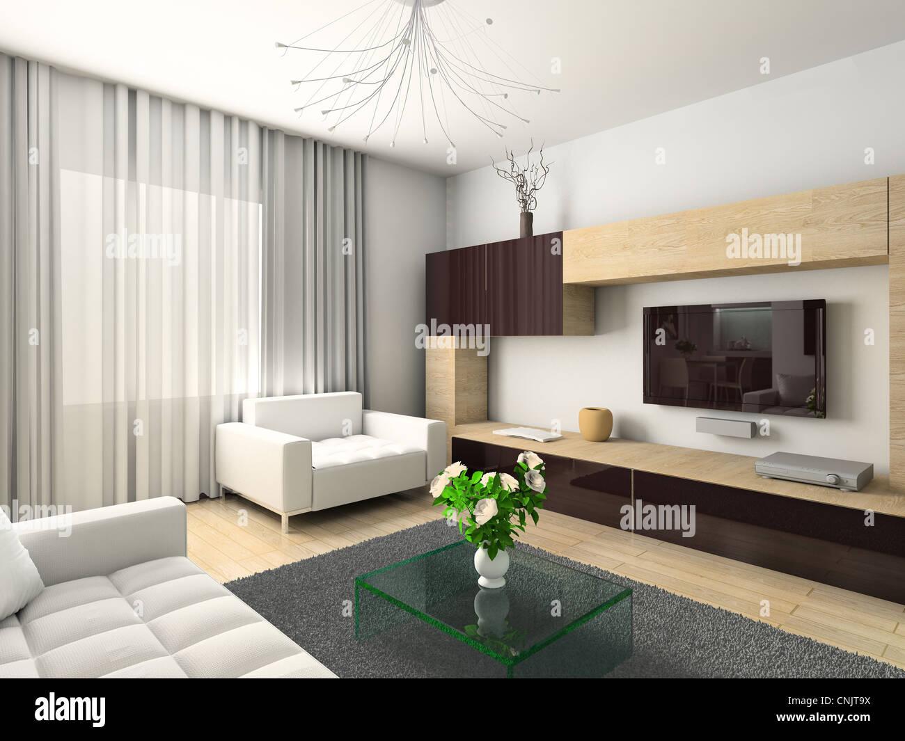 Interior moderno. 3D Render. Salón-comedor. Diseño exclusivo Foto ...