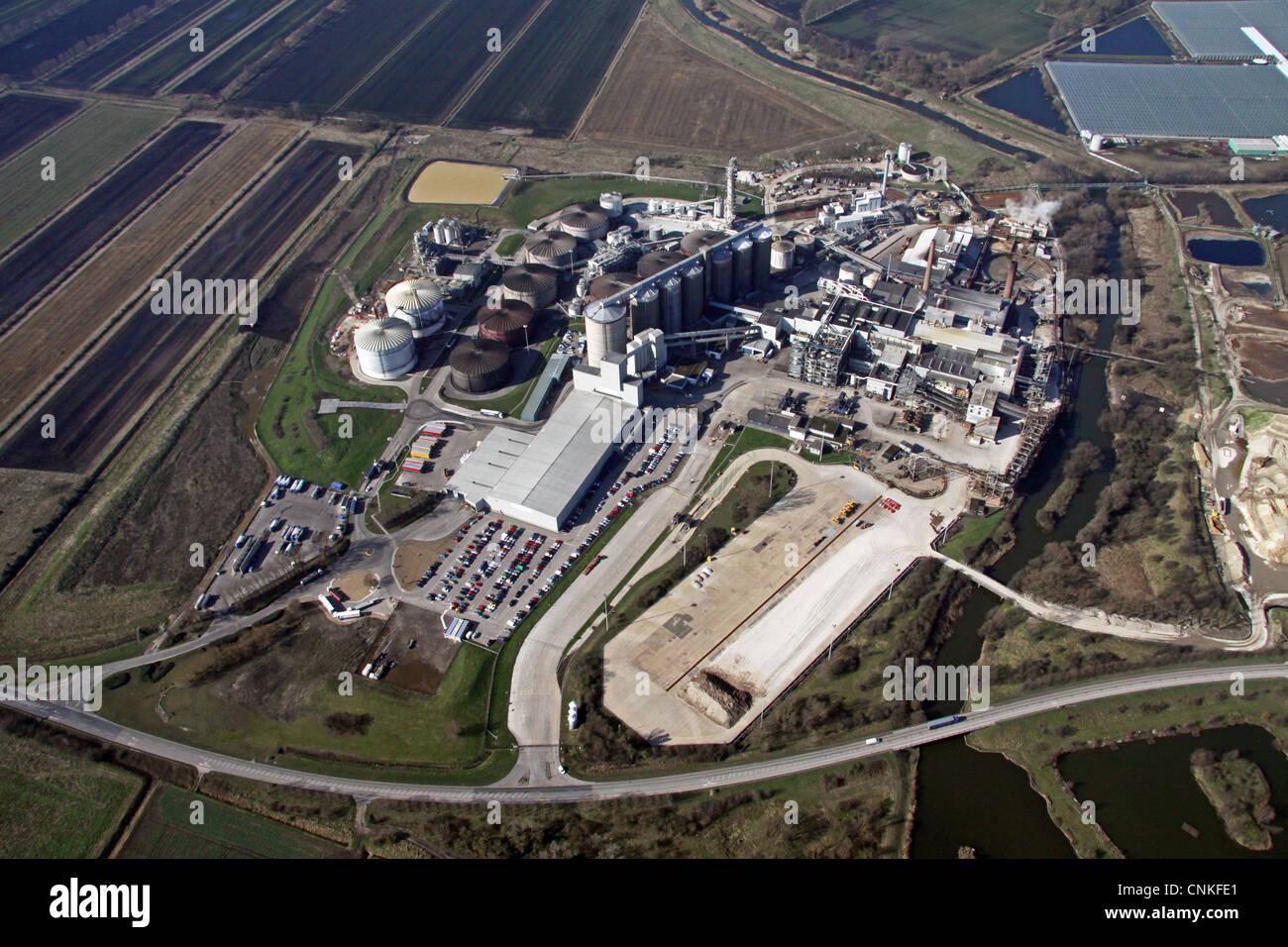 Vista aérea de la fábrica de remolacha azucarera mercado Downham Imagen De Stock