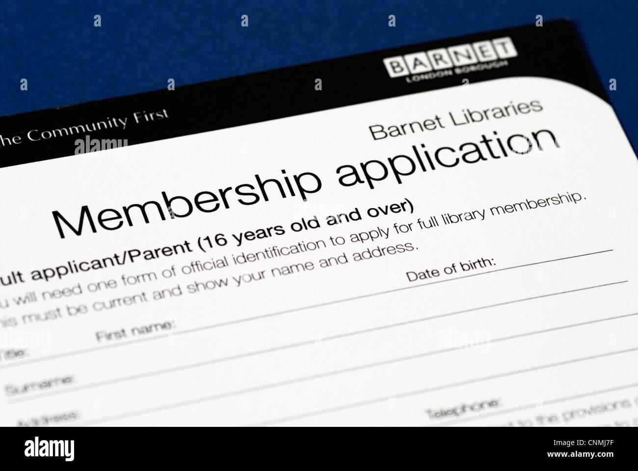 Londres Barnett Biblioteca del Consejo de formulario de solicitud de membresía Imagen De Stock