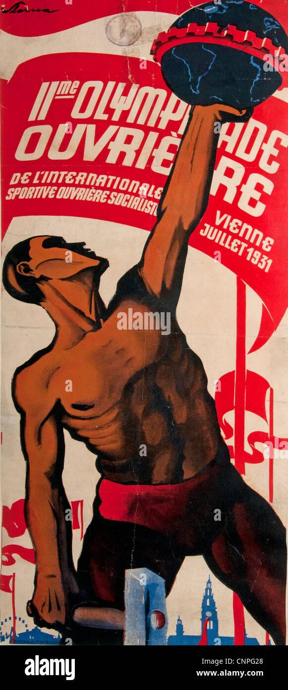 Los Juegos Olímpicos para los trabajadores Viena 1931 Austria - Amberes Bélgica 1937 Imagen De Stock