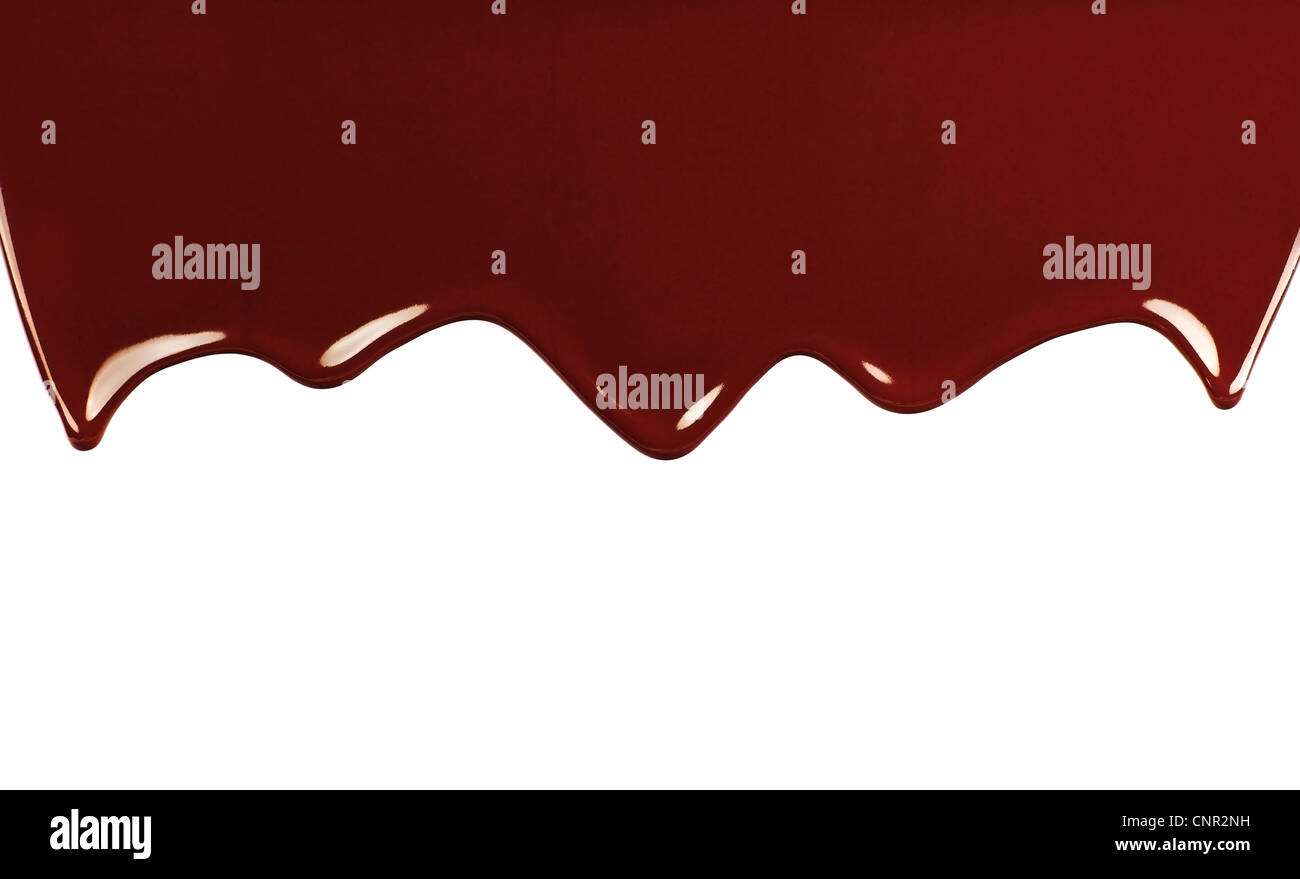Deliciosos dulces de chocolate oscuro frontera, soltando líquido fondo marrón con espacio de texto Imagen De Stock