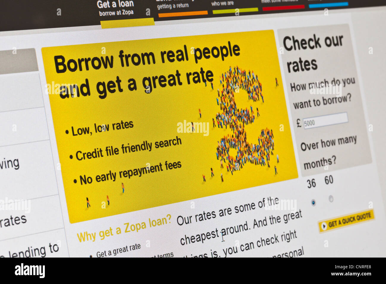 Zopa página del web site Imagen De Stock