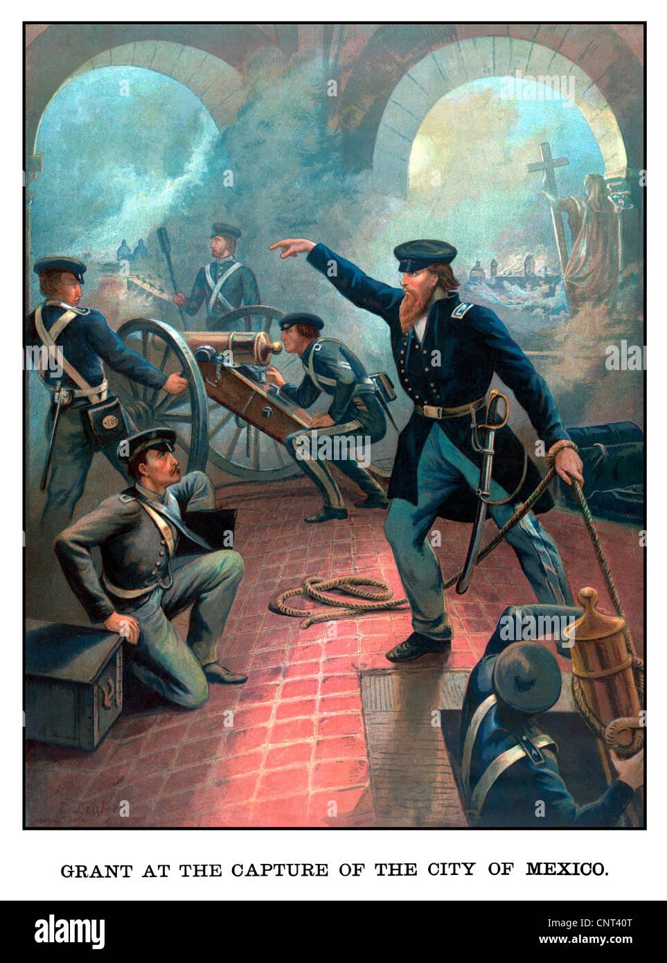 Historia Americana Vintage poster de Ulysses S. Grant comandando tropas durante la guerra mexicano-americana. Imagen De Stock