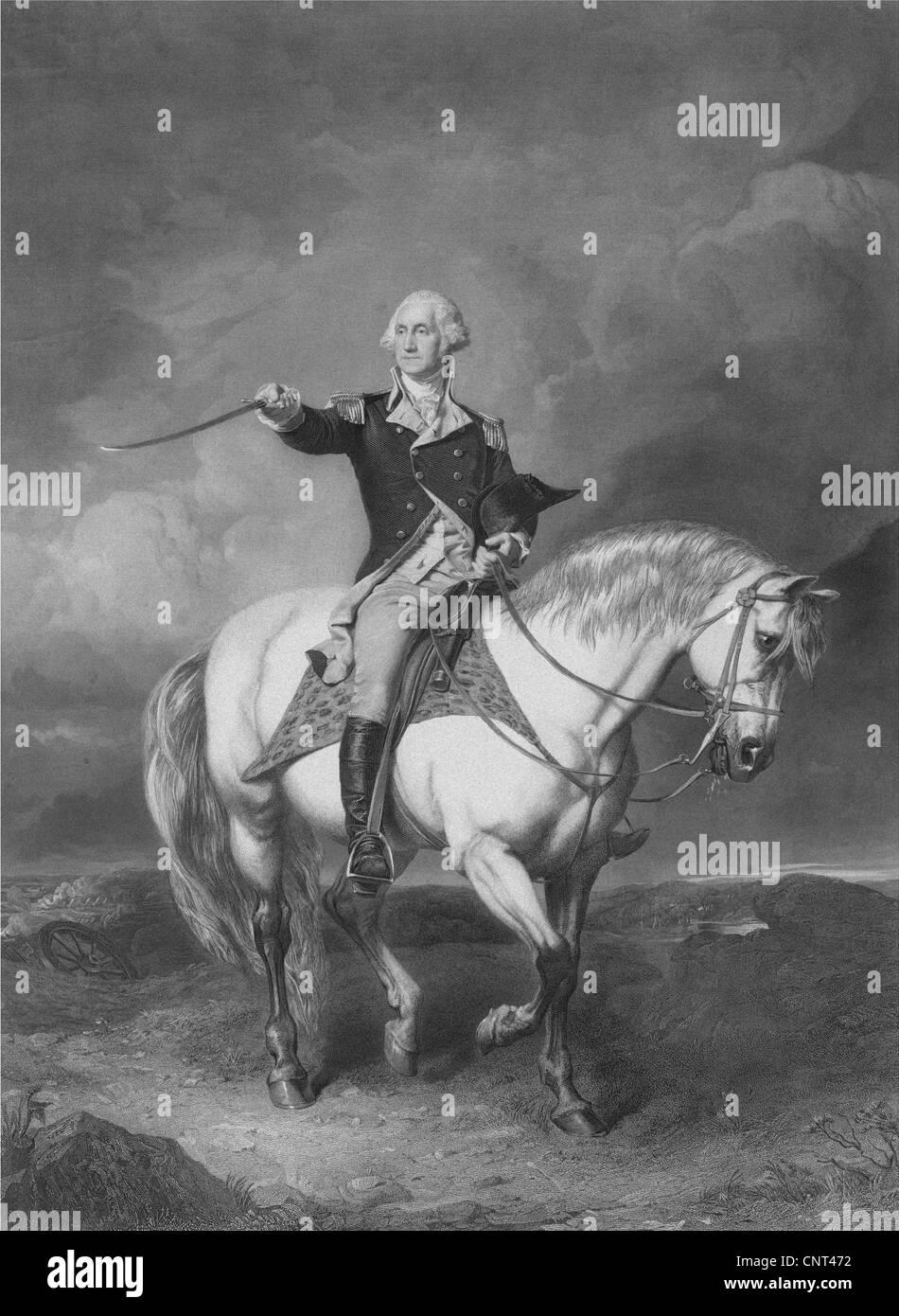 La guerra revolucionaria americana vintage de impresión General George Washington a caballo. Foto de stock