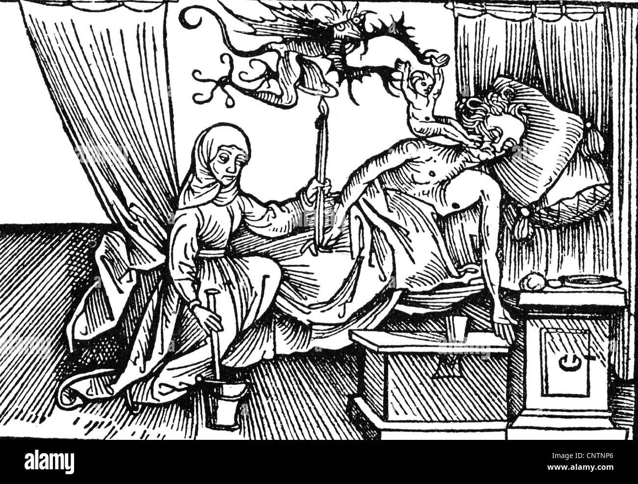 Muerte, diablo está tomando el alma de un hombre moribundo, woodcut, 1508, Derechos adicionales-Clearences-no disponible Foto de stock