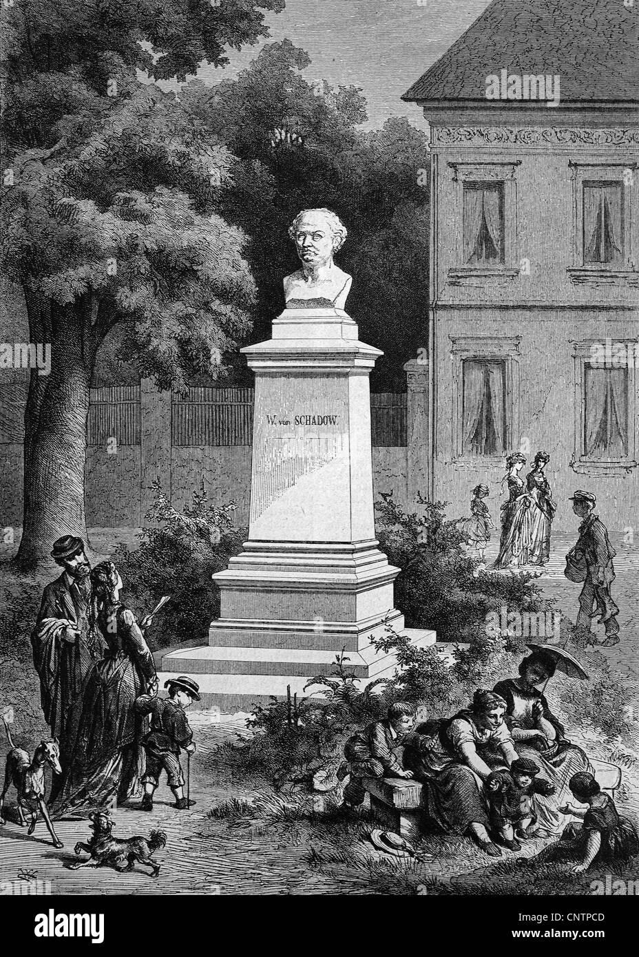 Schadow Monumento en Dusseldorf, Renania del Norte-Westfalia, Alemania, histórico xilografía, circa 1870 Foto de stock