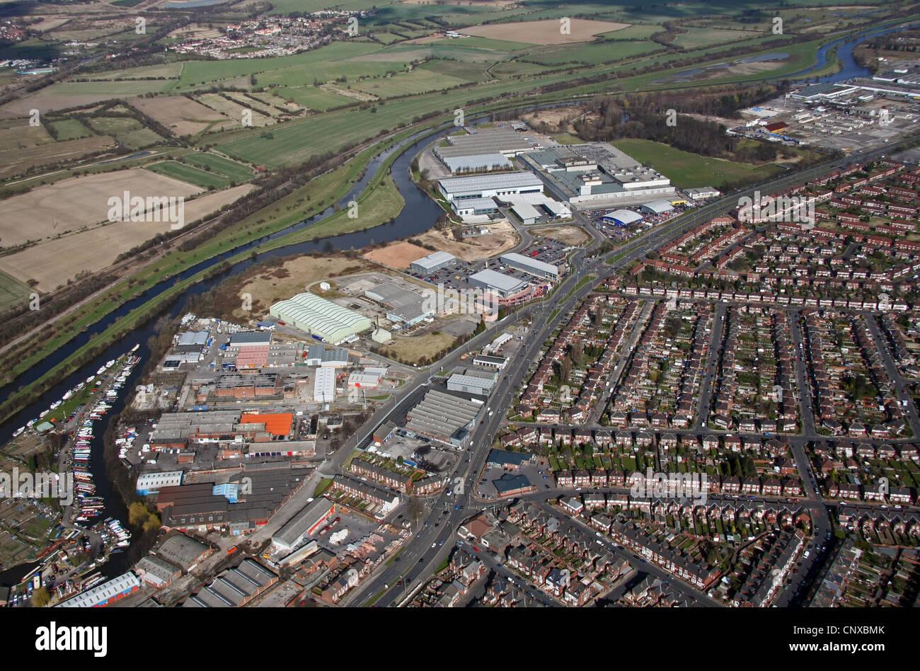 Vista aérea de Wheatley Hall Road, Doncaster Foto de stock