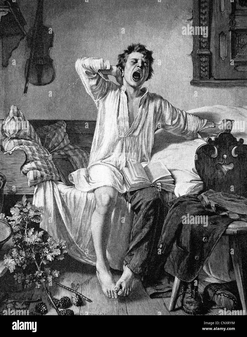 Joven es la mañana todavía cansado, histórico grabado, 1888 Imagen De Stock