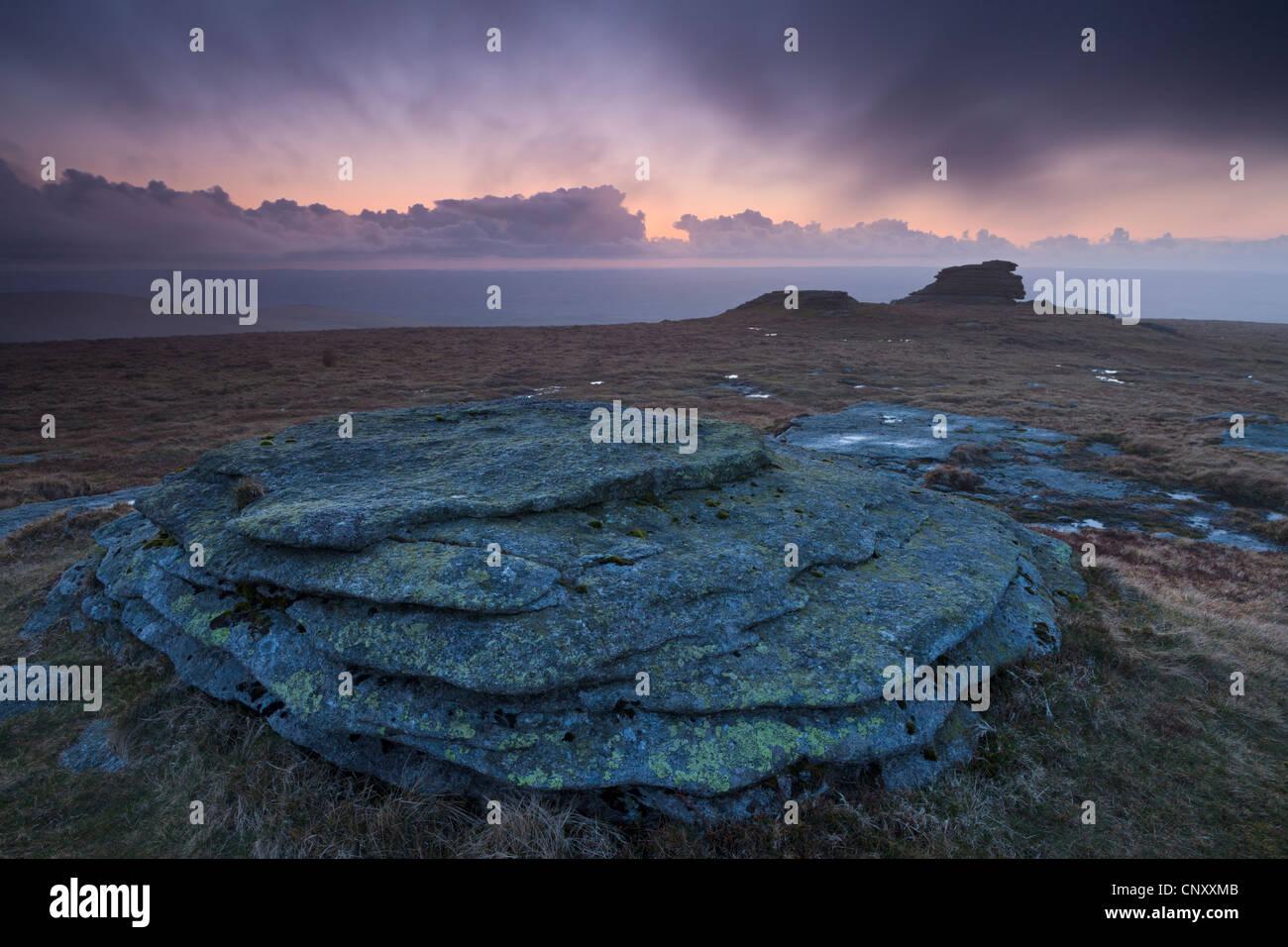High Willhays al atardecer, el punto más alto de Dartmoor y sur de Gran Bretaña, Dartmoor, Devon, Inglaterra. Imagen De Stock