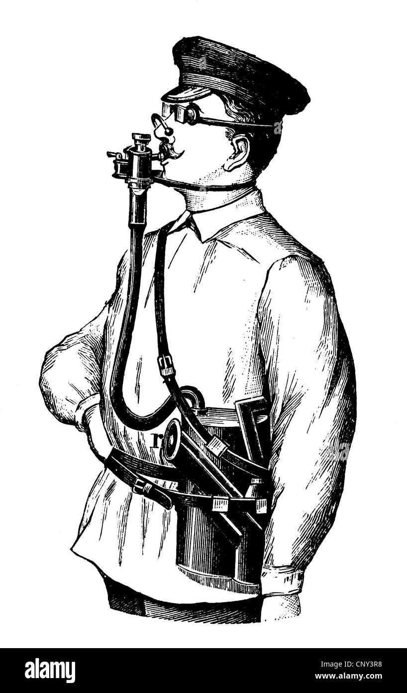 Seguridad Laboral en 1880, mascarilla para los laboratorios de química, aparatos de respiración, ilustración Imagen De Stock