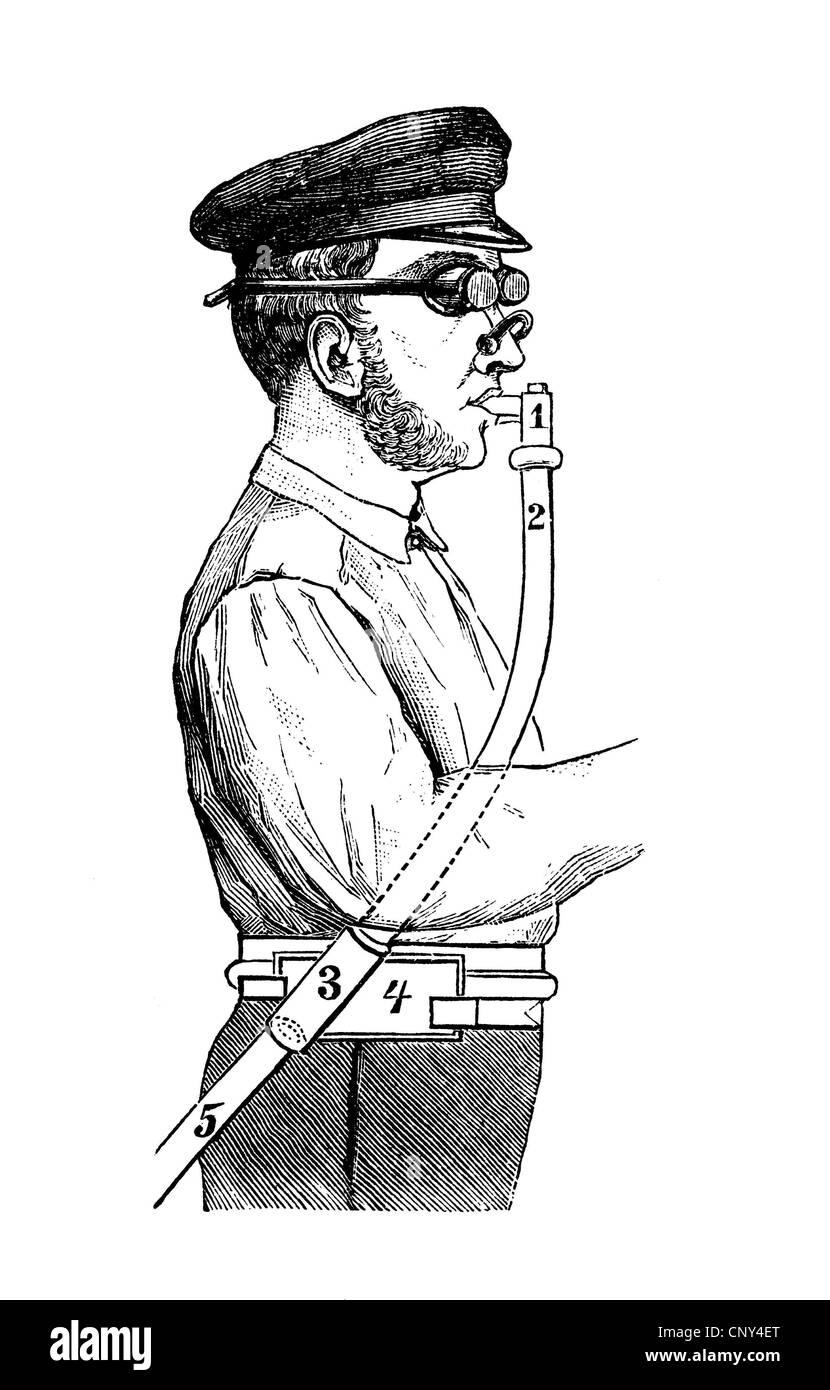 La seguridad ocupacional en 1880, respirador, aparatos de respiración, ilustración histórica, el Imagen De Stock