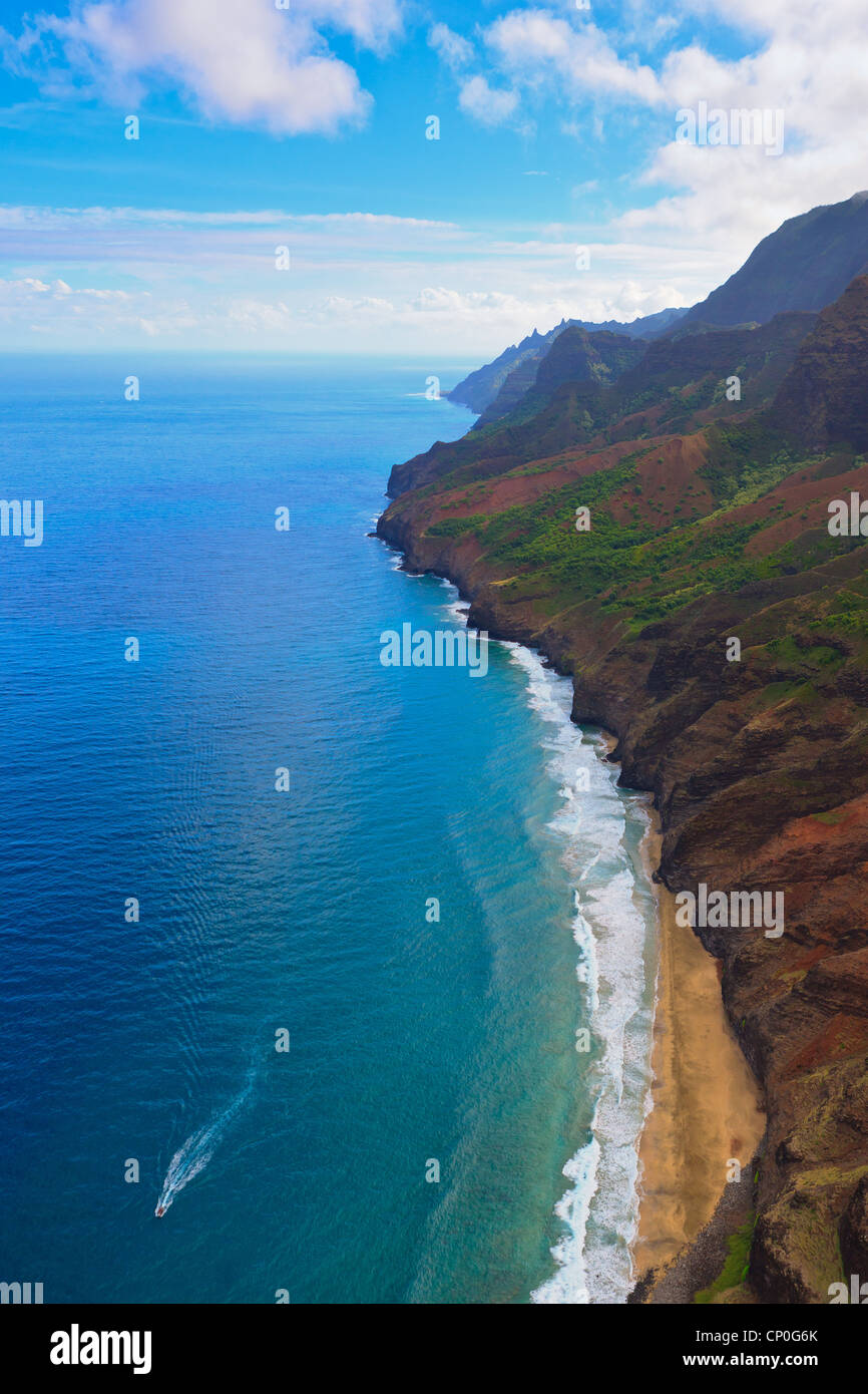Helicóptero vistas costa Napali. Kauai, Hawai Foto de stock