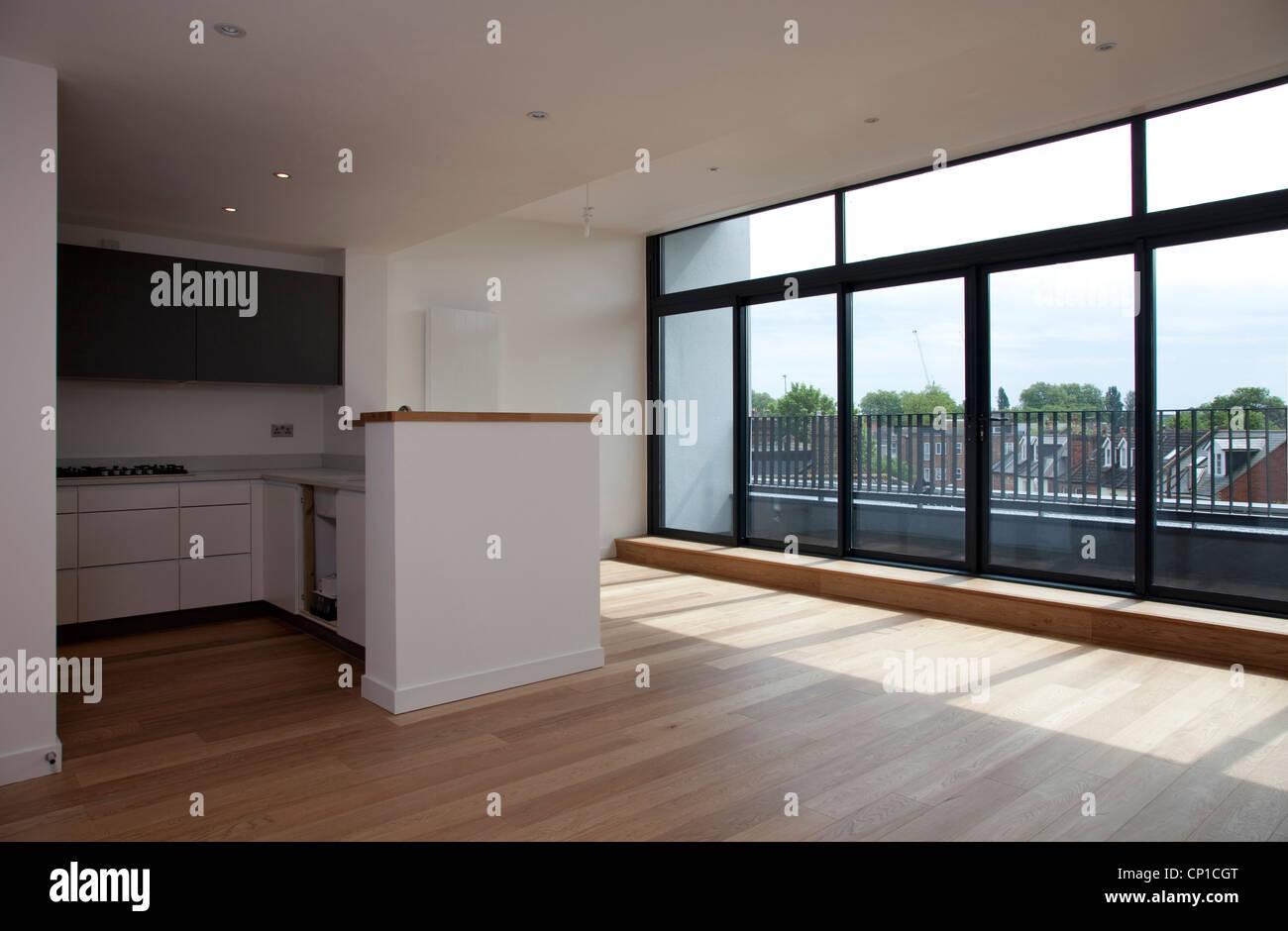 Gran cocina y sala de estar vacía, penthouse en apartamentos ...