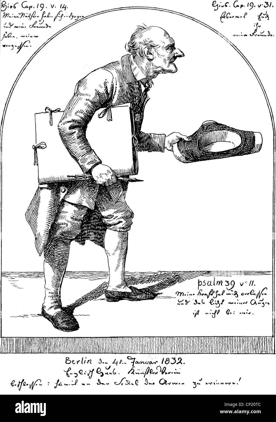 Schadow, Johann Gottfried, 20.5.1764 - 27.1.1850, escultor alemán y artista gráfico, obras, 'el viejo pintor', litografía, 1832, , Foto de stock