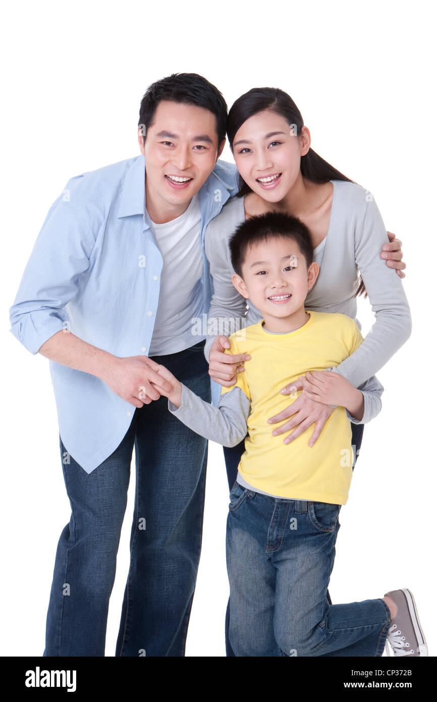 Retrato de una familia feliz Foto de stock