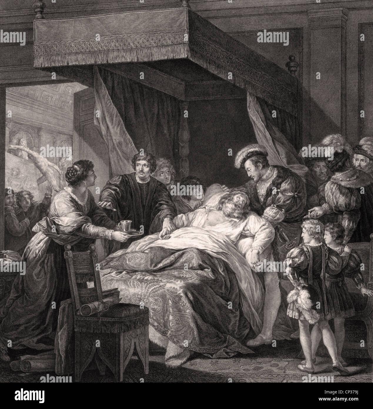 La muerte de Leonardo da Vinci en el Clos Lucé. Francisco I, Rey de Francia, sostiene en sus brazos de Leonardo como el artista sienta morir. Foto de stock