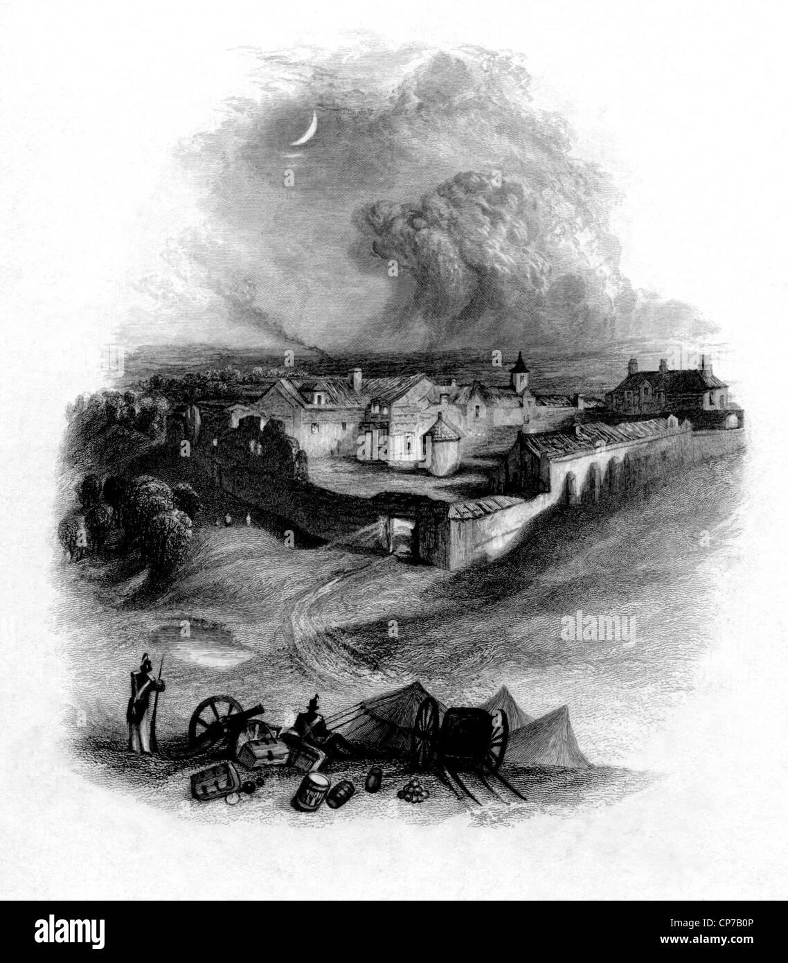 Viñeta de Castillo de Hougoumont antes de la batalla de Waterloo, Bélgica, grabado por William Miller Imagen De Stock
