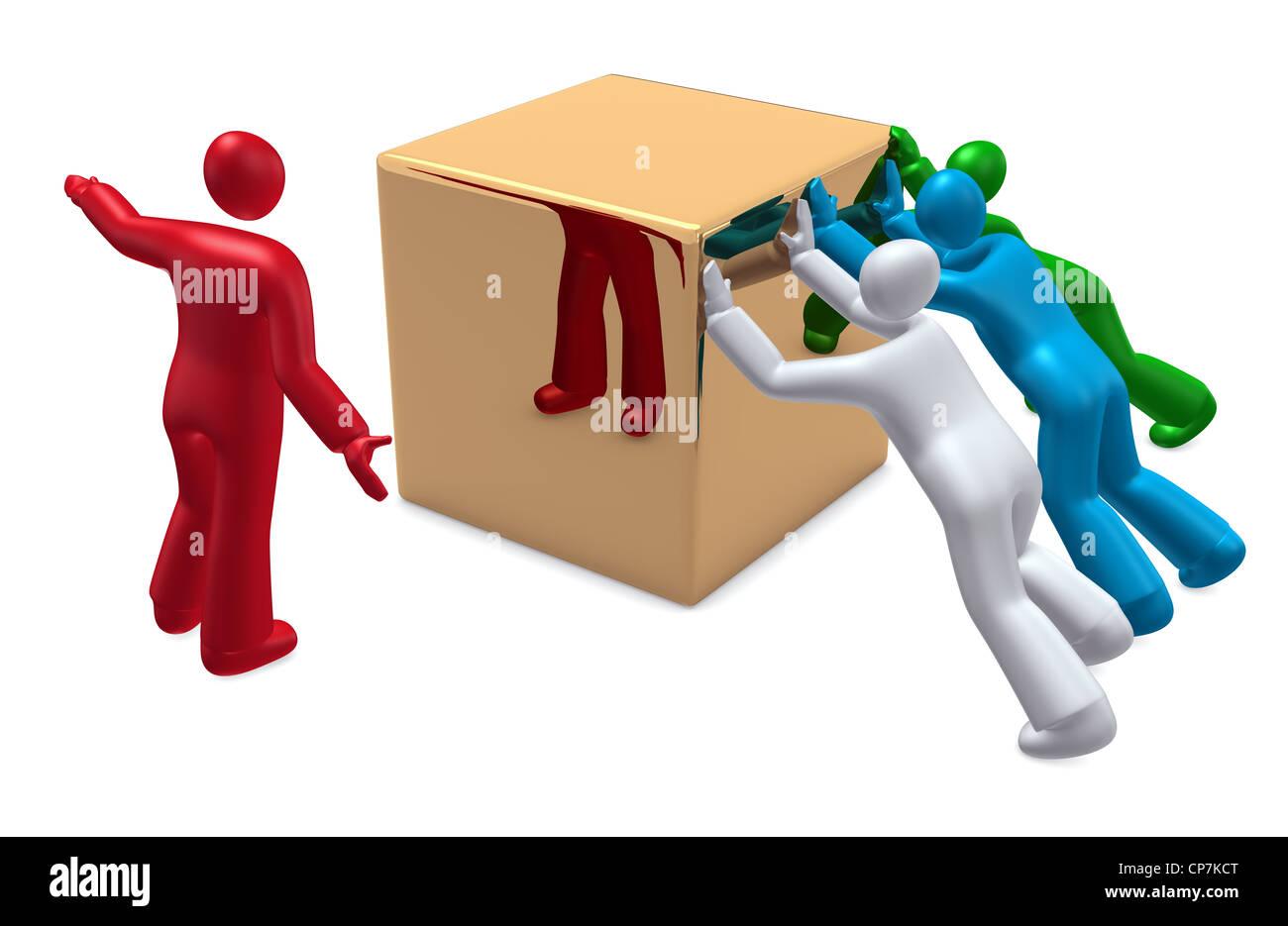 Jefe de equipo y las personas que trabajan juntas Imagen De Stock