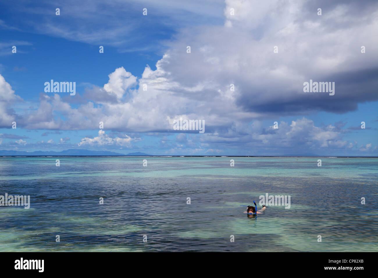 Mujer snorkeling en Anse Source d'Argent, La Digue, Seychelles, el Océano Índico en La Digue de las Imagen De Stock
