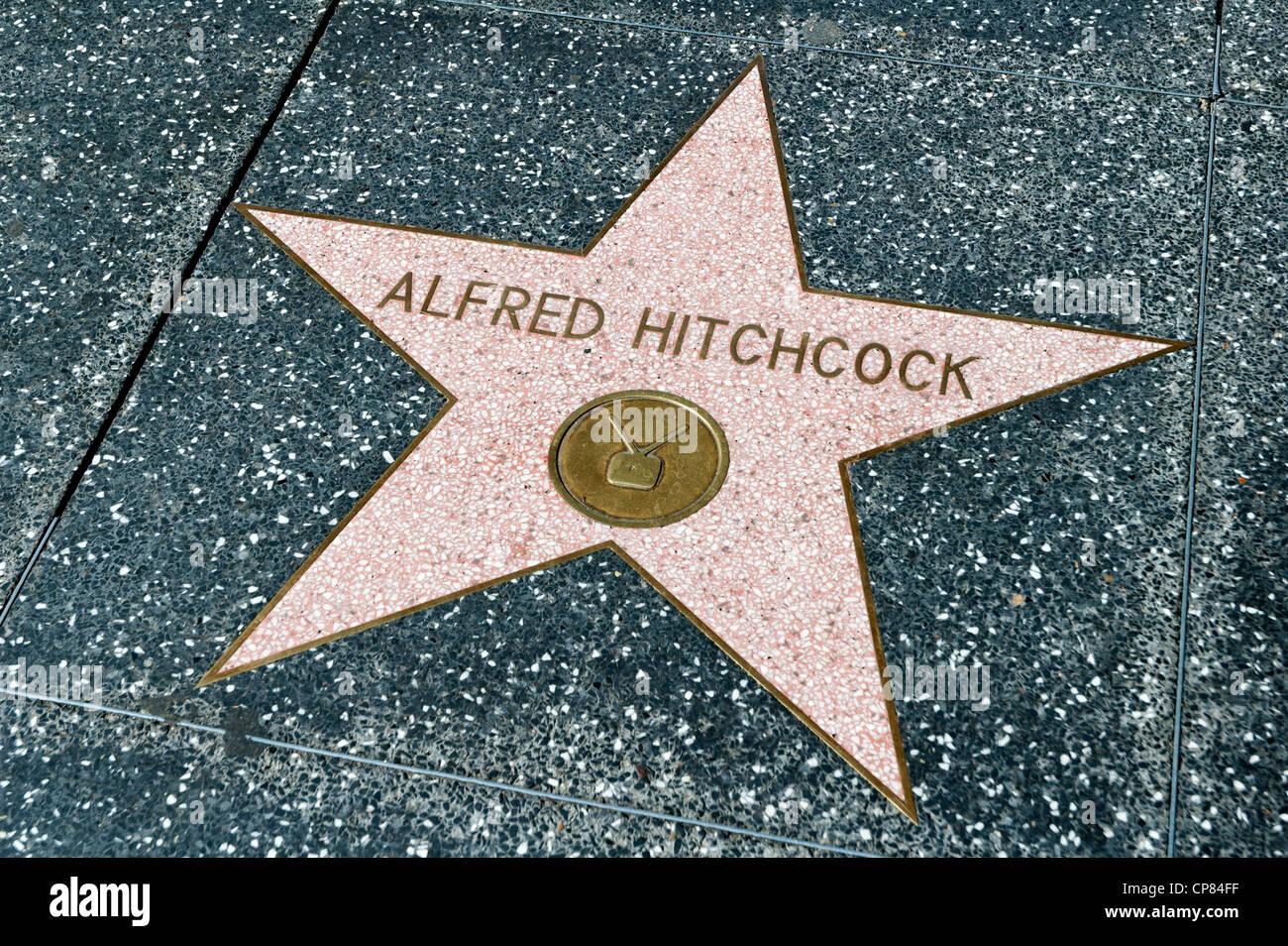 Alfred Hitchcock estrella en el Paseo de la Fama de Hollywood Boulevard, Los Angeles, California, EE.UU. Imagen De Stock