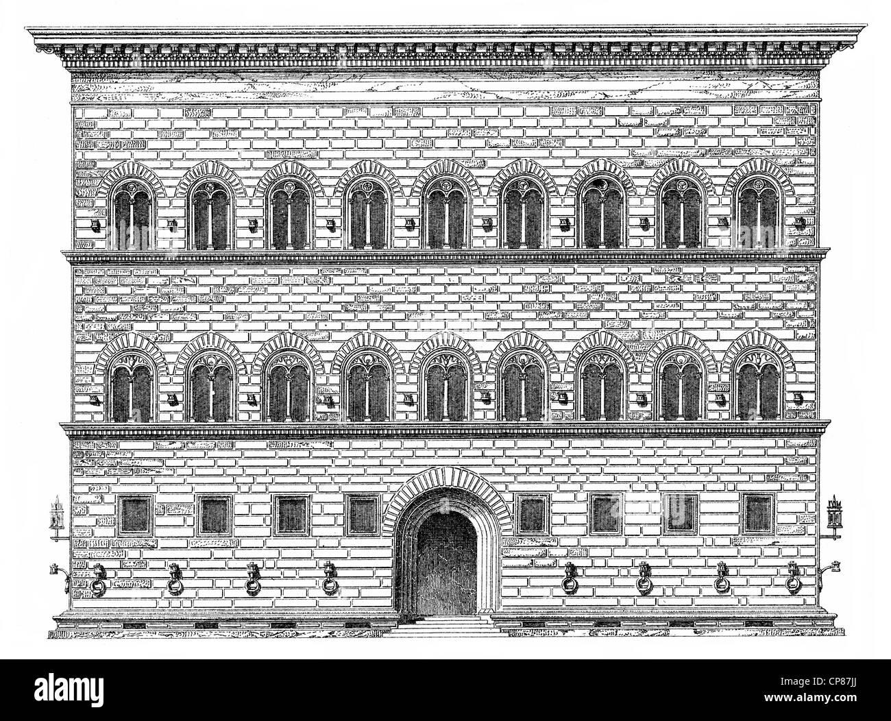 Palacio renacentista Palazzo Strozzi, en Florencia, Italia, del siglo XV, Historische, zeichnerische Darstellung, Imagen De Stock