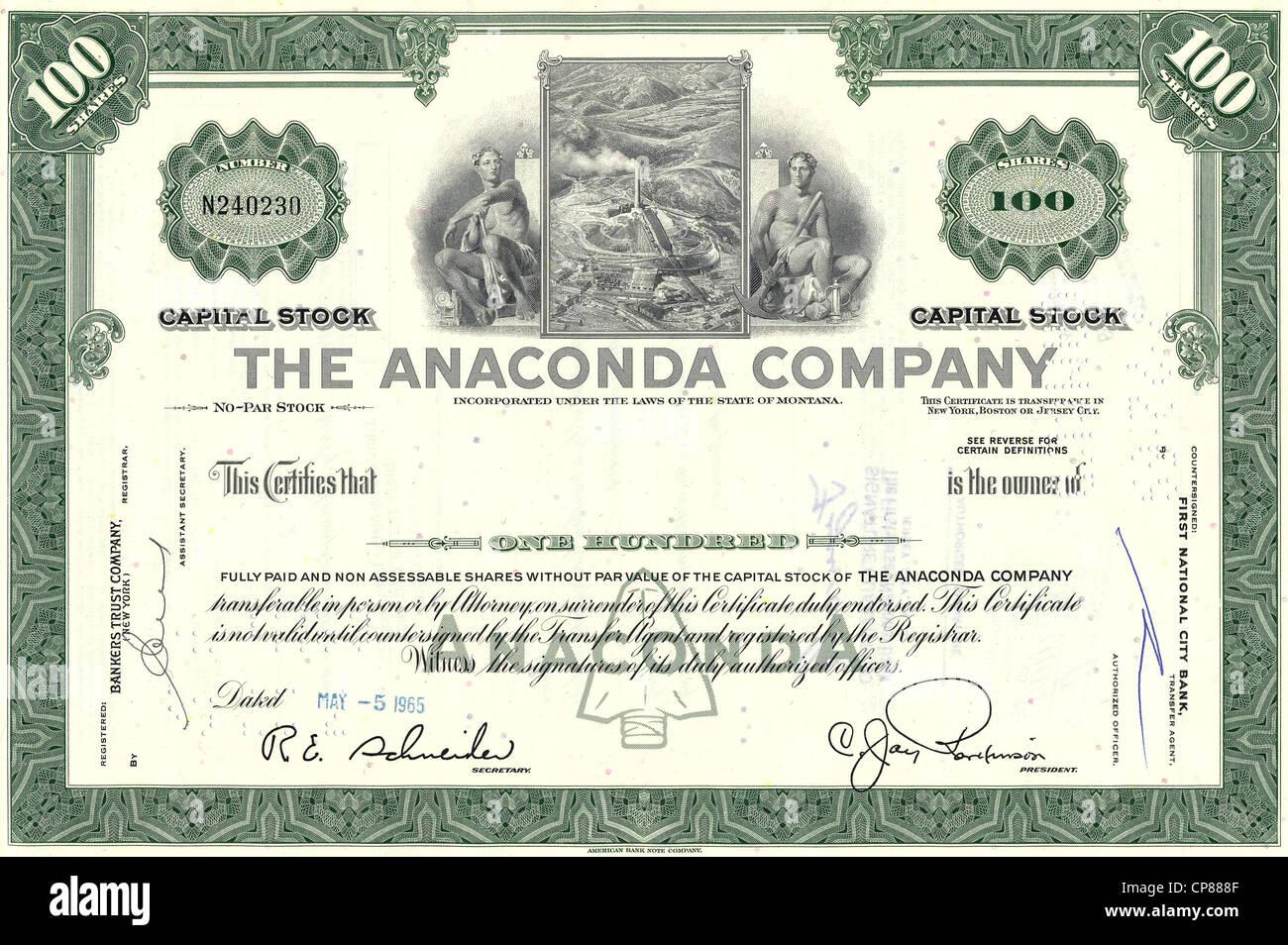 Historische Aktie, Kupferbergbau, la Anaconda Copper Mining Company, 1965, Montana, Estados Unidos, histórico Imagen De Stock