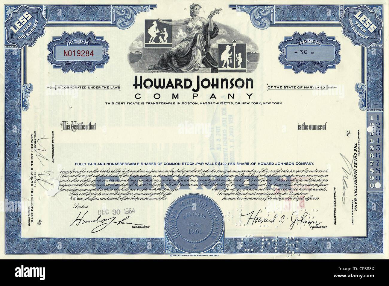 Certificado de acciones históricas, el restaurante y la cadena de hoteles Howard Johnson Company, 1964, Maryland, Imagen De Stock