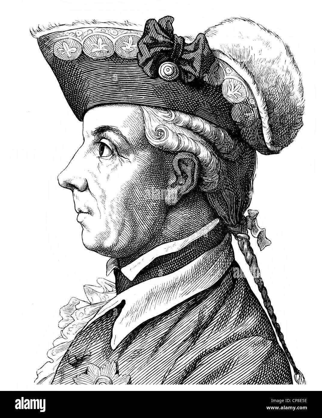 El príncipe Friedrich Heinrich Ludwig de Prusia, 1726 - 1802, comandante general del ejército prusiano y diplomático, Historische Zeichnung Foto de stock