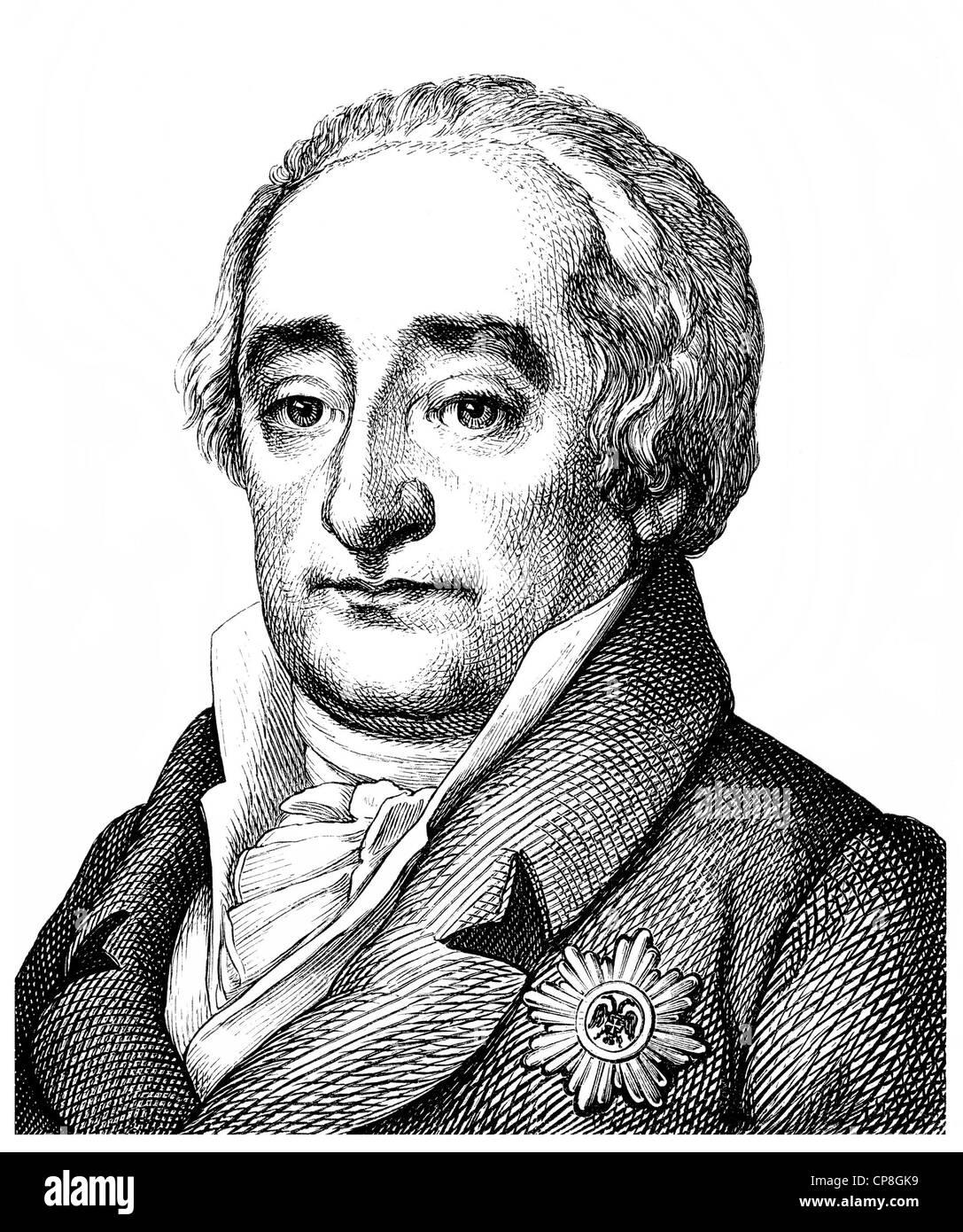 Heinrich Friedrich Karl Baron vom und zum Stein, 1757 - 1831, un estadista y reformador prusiano, Historische Zeichnung oficial Foto de stock