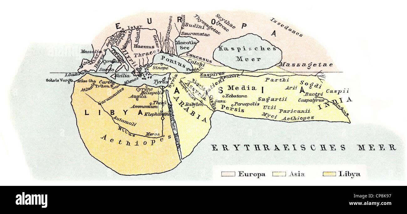 Mapa histórico del siglo XIX, el mapa del mundo por Heródoto de Halicarnaso, 490-480 BC - alrededor de 424 BC, un griego antiguo hist Foto de stock