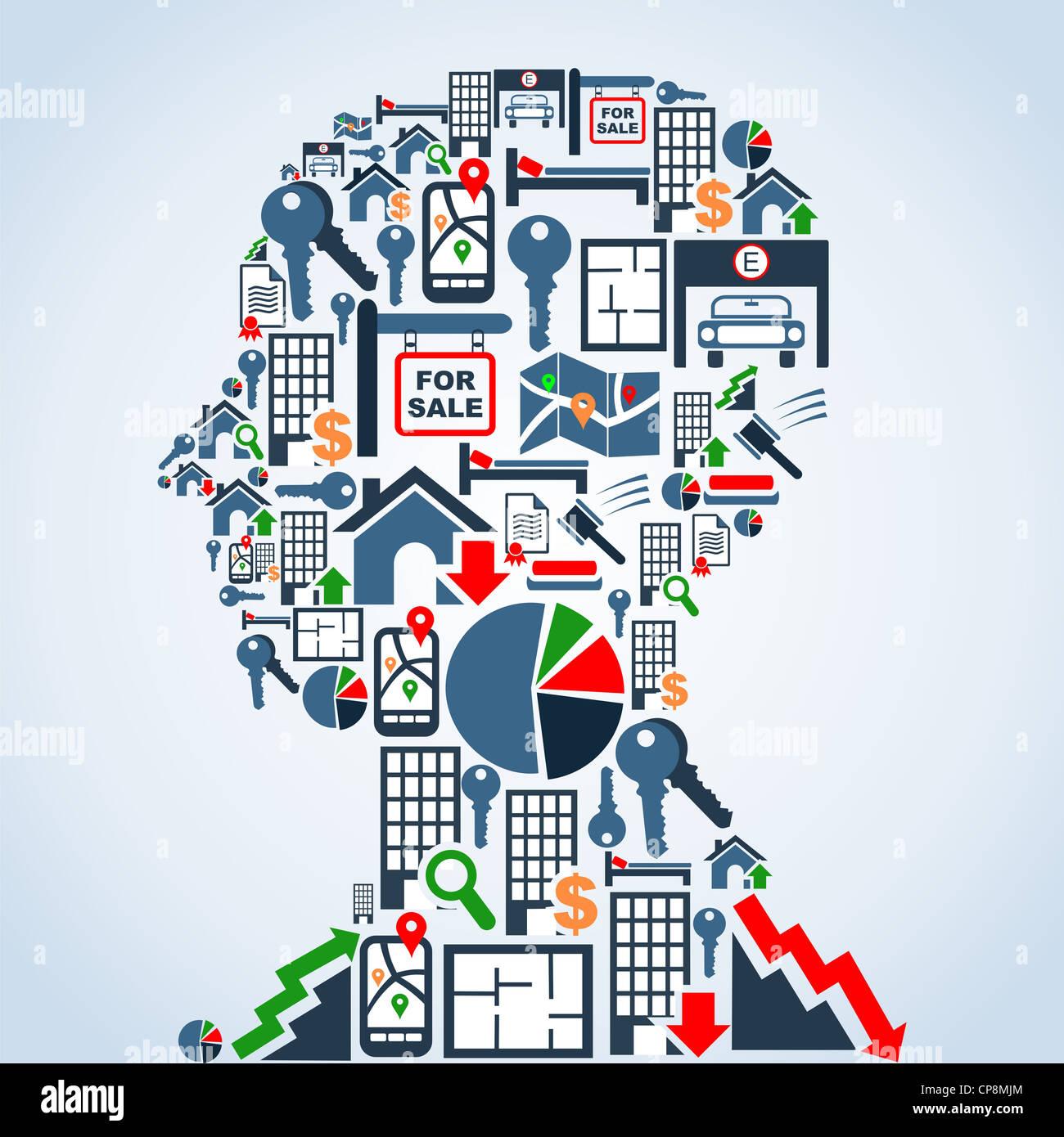 Real estate conjunto de iconos en forma de la cabeza de hombre ilustración de fondo. Capas de archivo vectorial Imagen De Stock