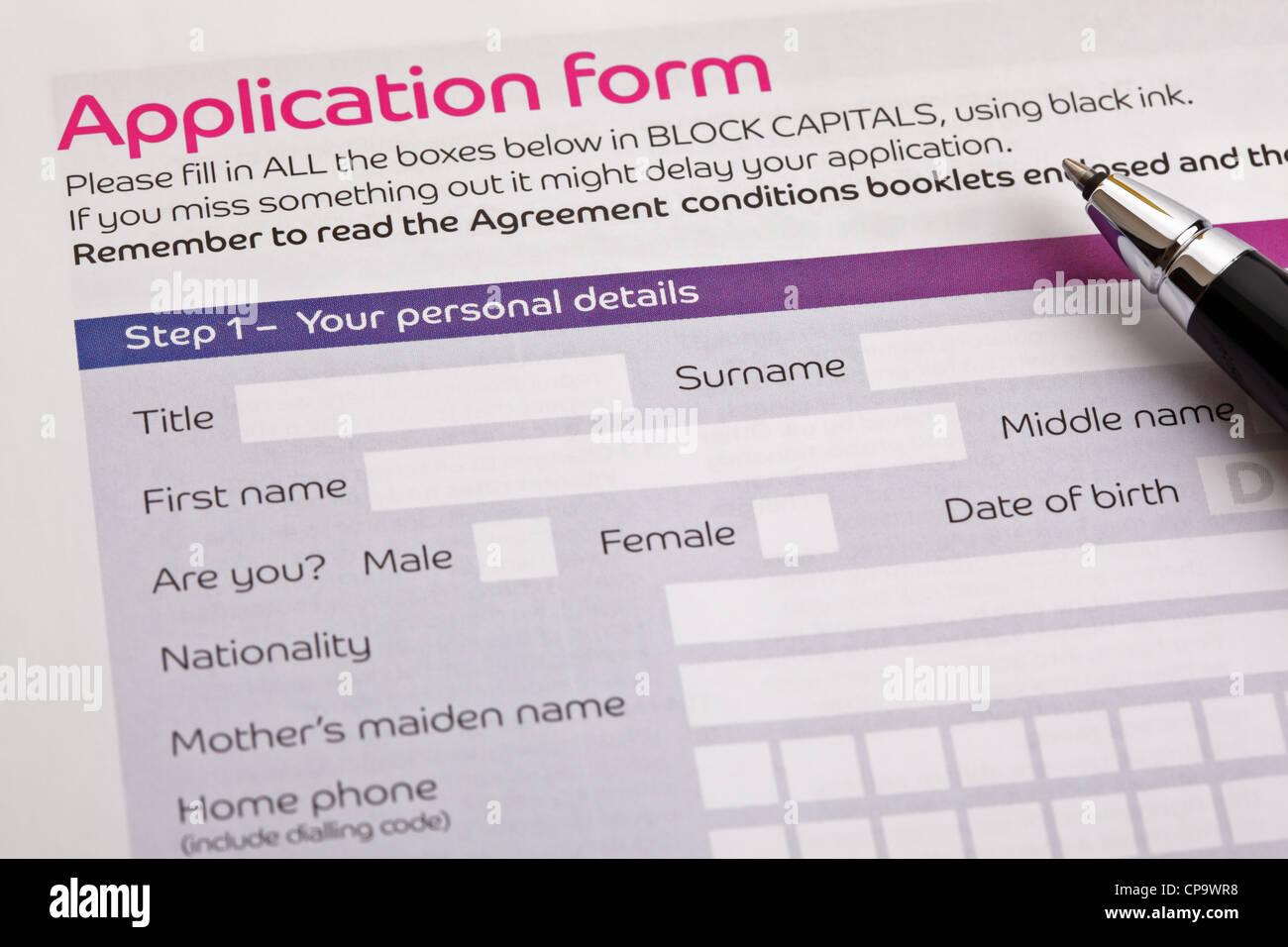Formulario de solicitud Imagen De Stock