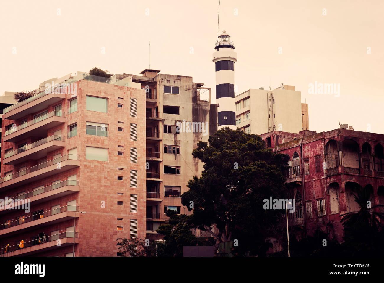 Faro en el centro de Beirut. Imagen De Stock