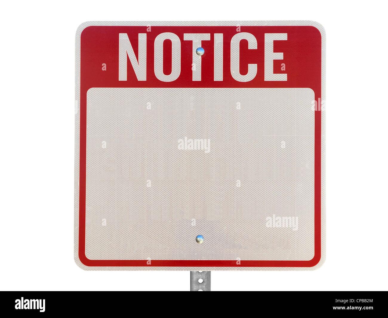 Señal de precaución aviso rojo blanco aislado en blanco. Foto de stock