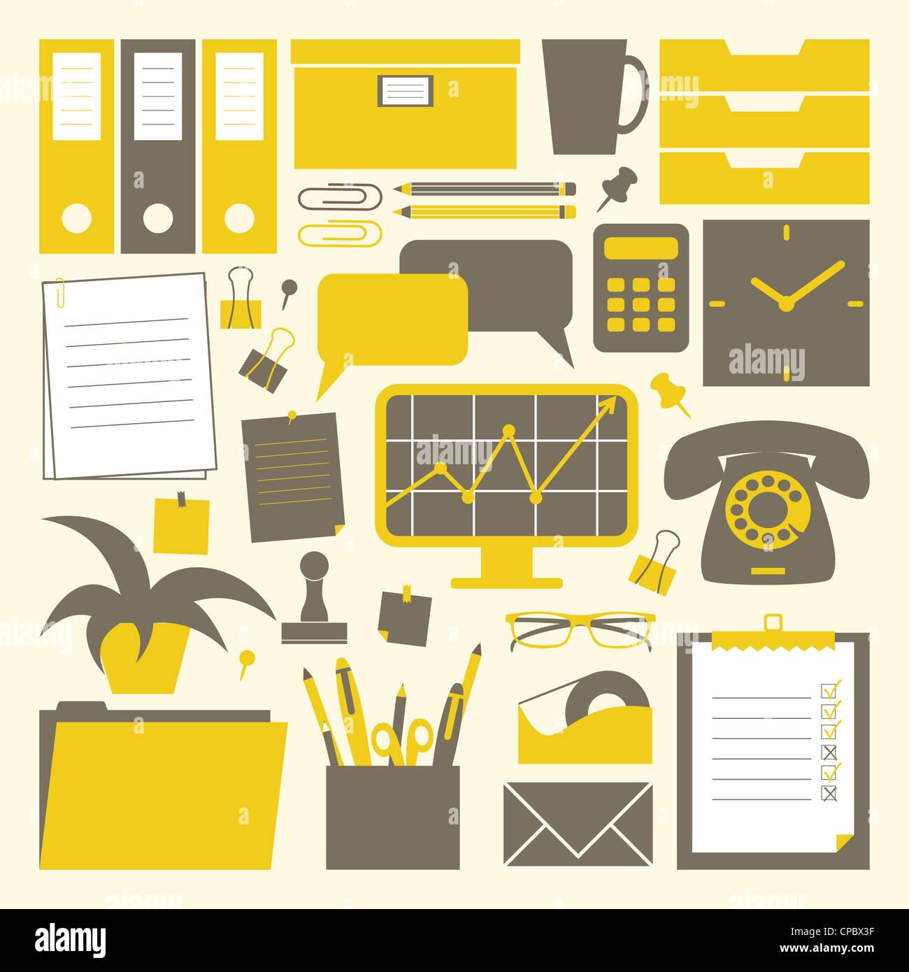 Una colección de objetos relacionados con la oficina en amarillo, gris oscuro y blanco. Imagen De Stock