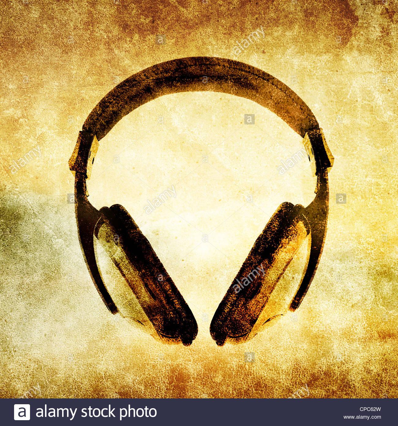 Auriculares grunge Imagen De Stock