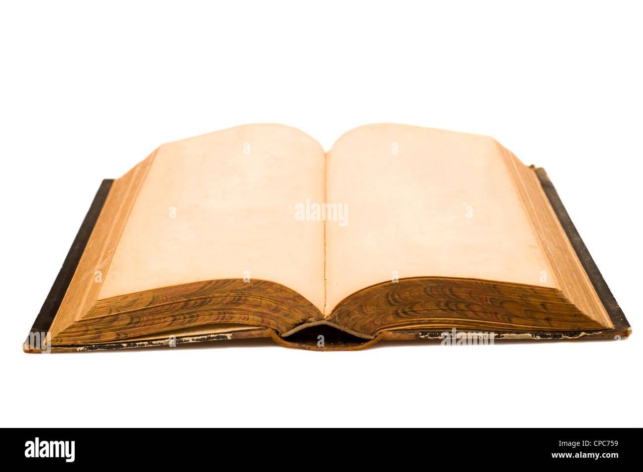 Un viejo libro abierto con las páginas en blanco Imagen De Stock