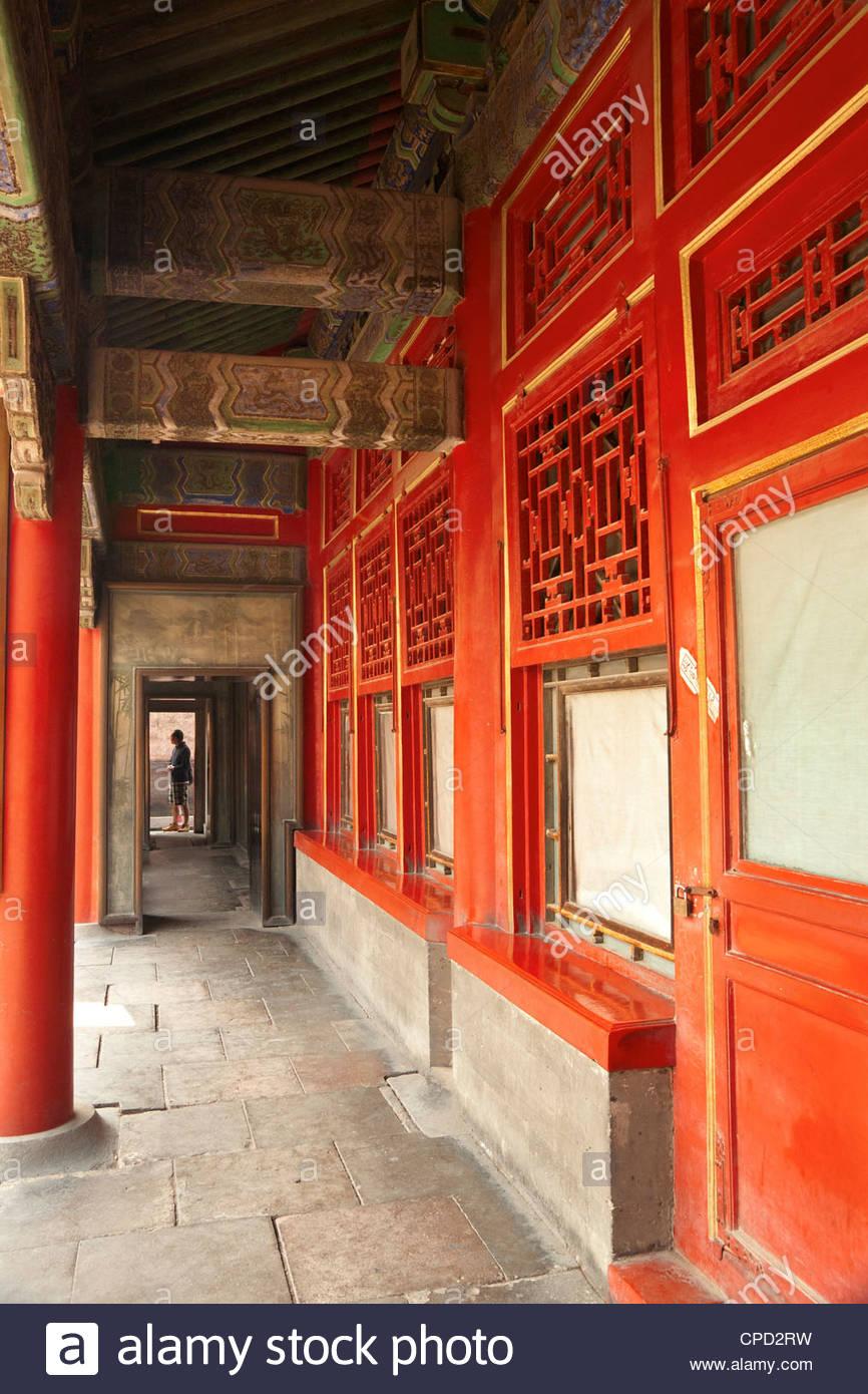 Conserva edificios de madera de las dinastías Ming y Quing, alojados concubinas, Ciudad Prohibida, Pekin, China, Imagen De Stock