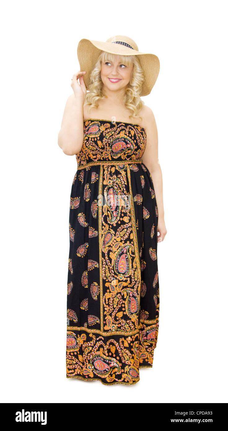 2f6b6541395bd Vacaciones de Verano - hermosa mujer vistiendo Vestido bustier y sombrero  de paja. Sonriente y