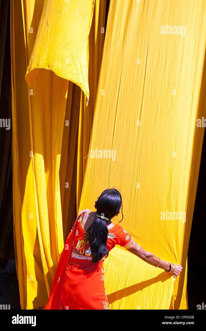 Mujer de sari, comprobando la calidad del tejido recién teñido para colgar en seco, Sari, fábrica Imagen De Stock