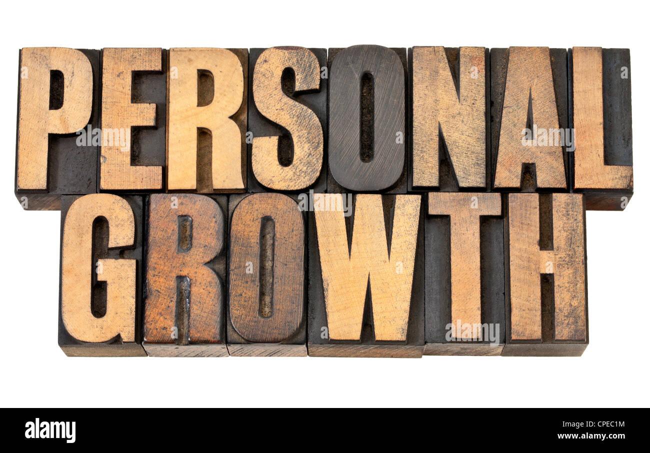 Crecimiento personal - desarrollo propio concepto - texto aislado en vintage tipografía tipo de madera Imagen De Stock