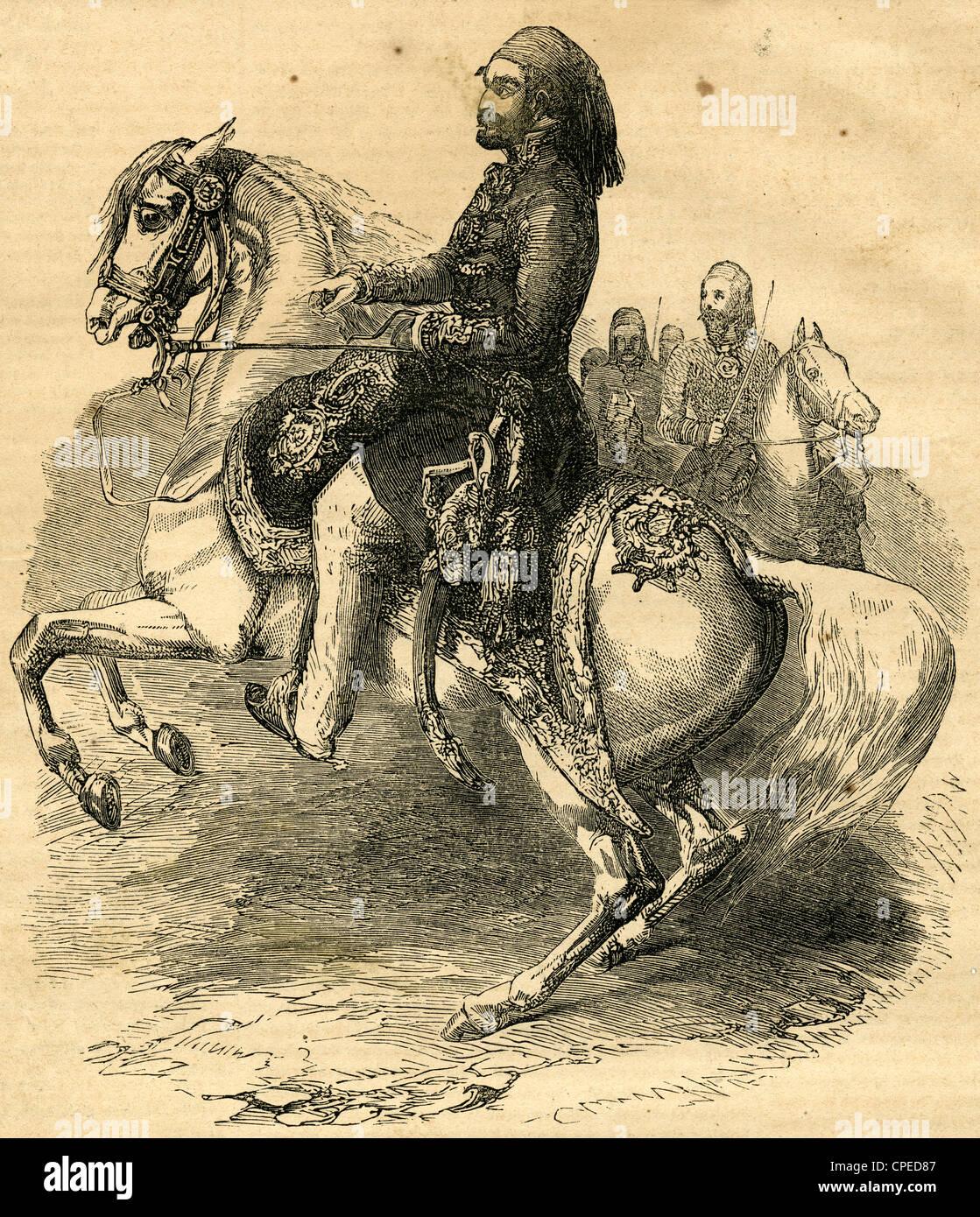 1854 Grabado, retrato ecuestre de Omar Pasha, Comandante de las fuerzas turcas. Foto de stock
