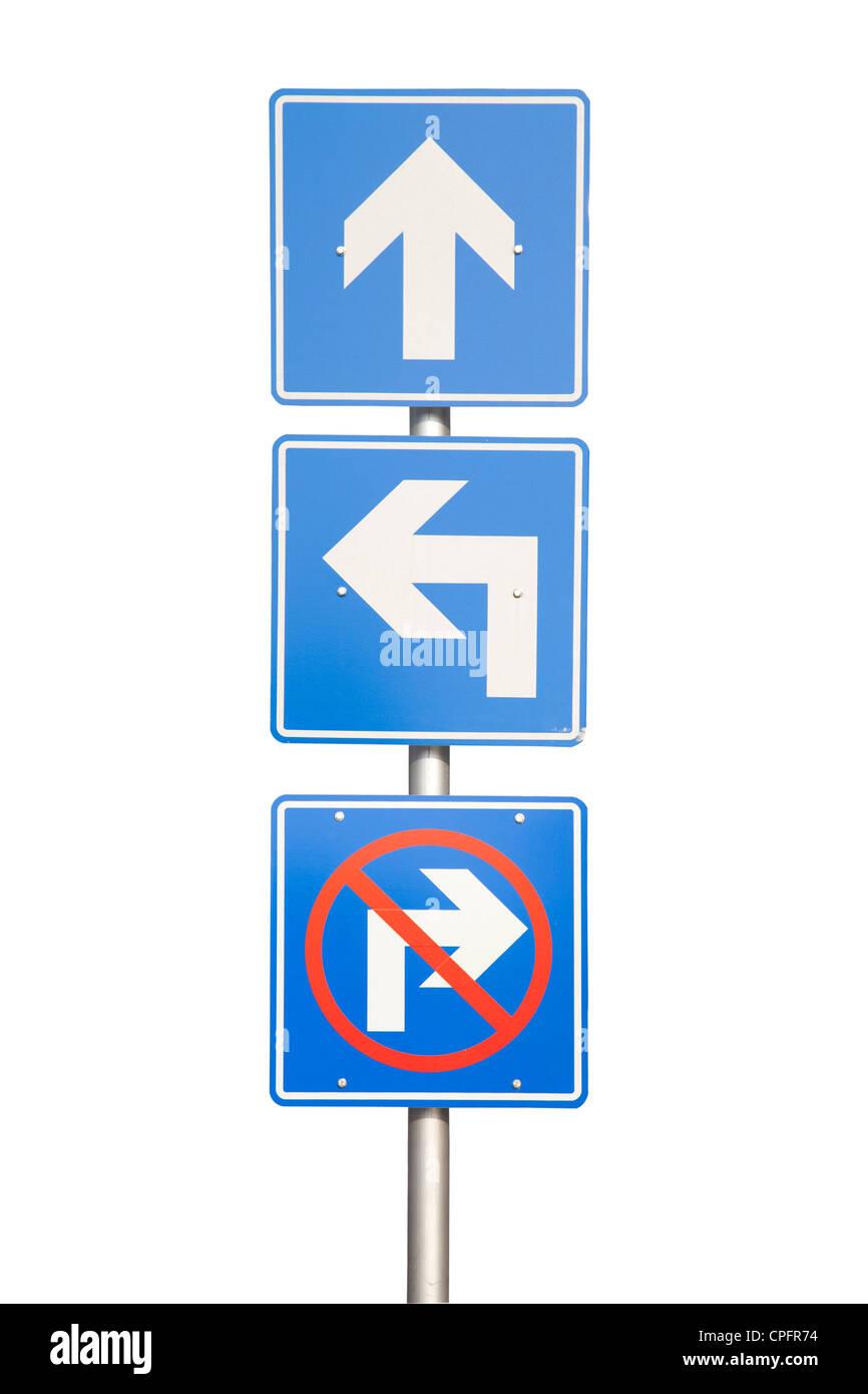 Señal de carretera de flecha azul sobre blanco Imagen De Stock
