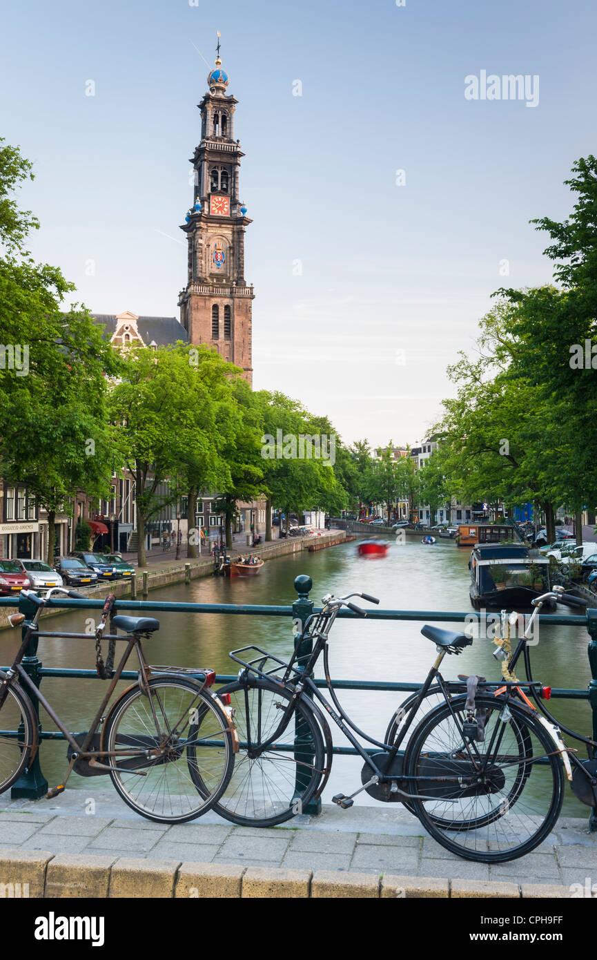 Iglesia Westerkerk barrio Jordaan, Amsterdam, Países Bajos Imagen De Stock