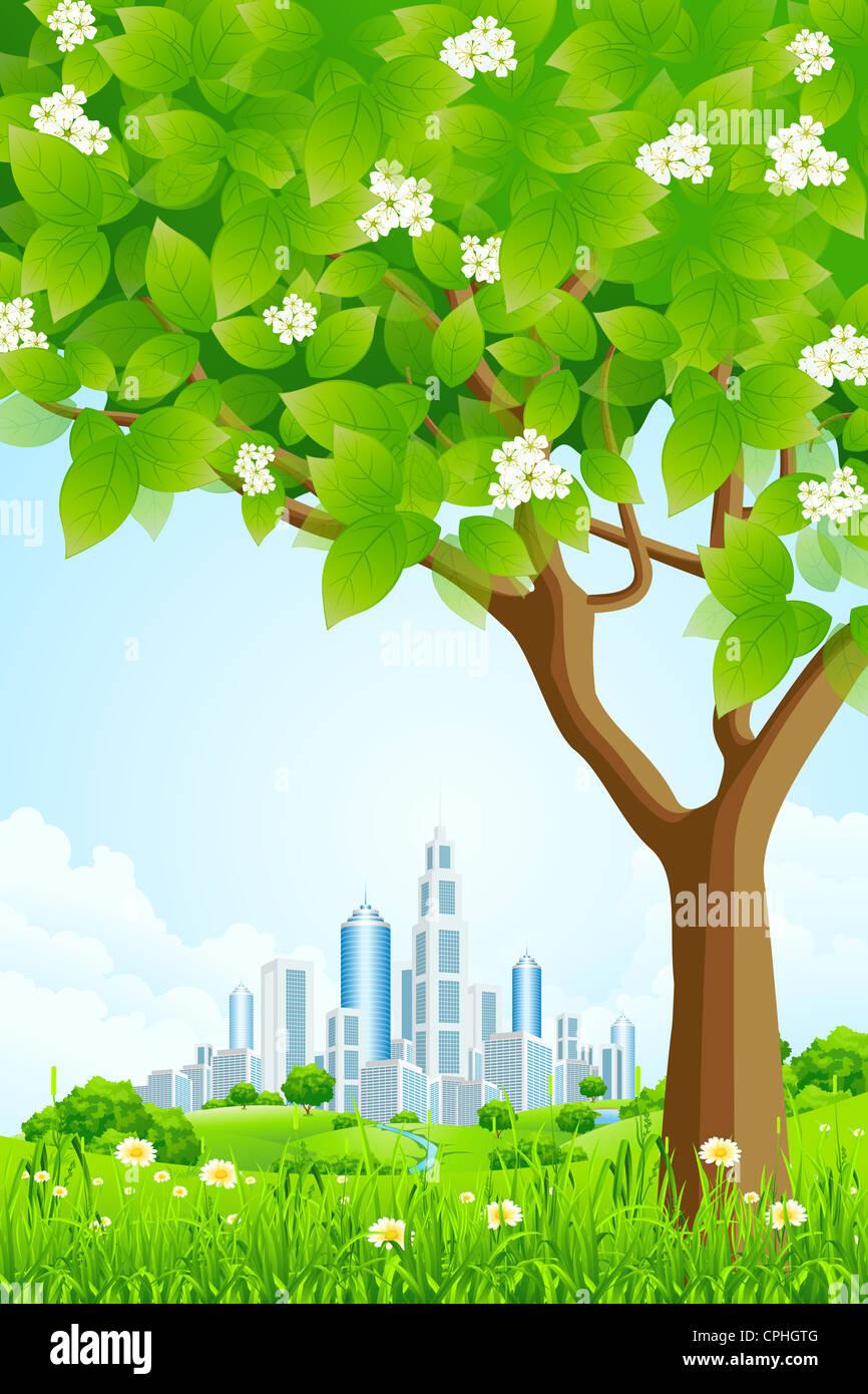 Fondo verde con árboles Flores Colinas y Ciudad Imagen De Stock