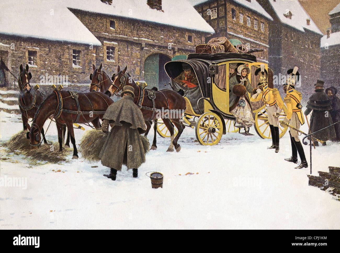 Stagecoach en el siglo XIX Imagen De Stock