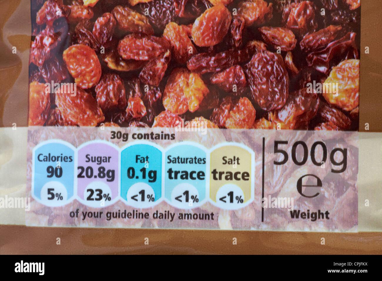 Directriz cantidad diaria gda información nutricional sobre paquete de sultaninas Imagen De Stock